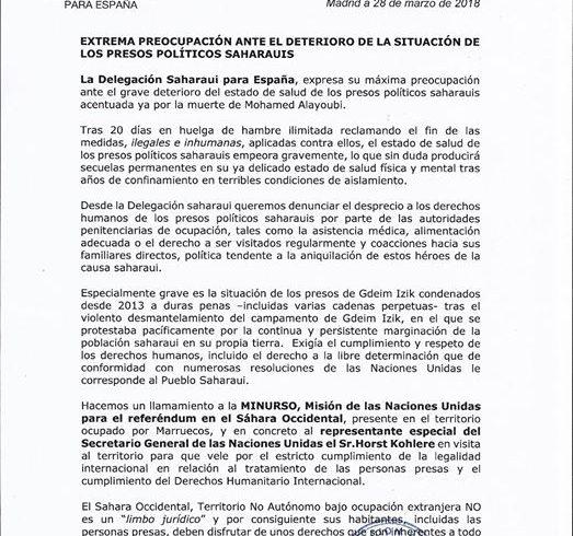 Delegacion Saharaui España EXTREMA PREOCUPACIÓN ANTE EL DETERIORO DE LA SITUACIÓ…