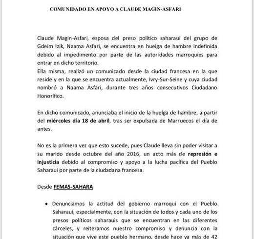 Comunicado en apoyo a Claude Magín-Asfari, esposa de Naama Asfari, preso polític…