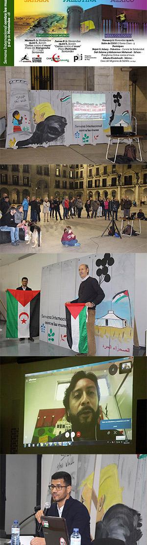 secuencia de imágenes de los distintos actos contra los muros en Santander