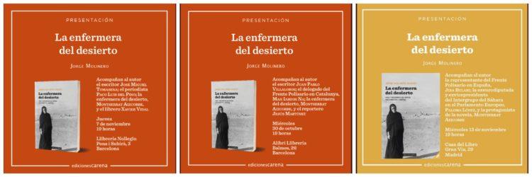 Próximas presentaciones de la novela «La Enfermera del Desierto» de Jorge Molinero | POR UN SAHARA LIBRE .org