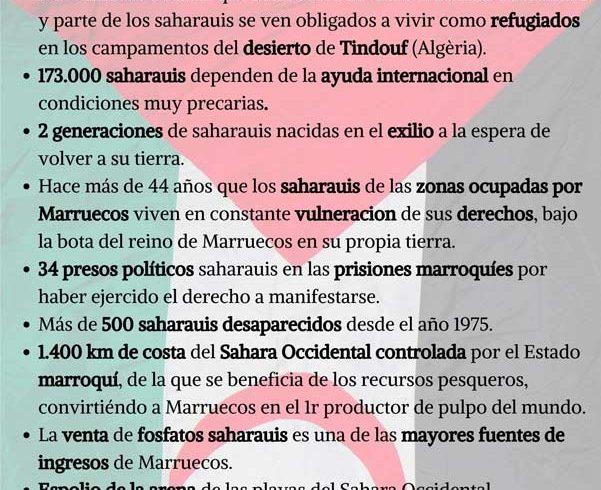 #10D_DDHH Cartel de la AAPSIB «Denunciamos la constante violación de los derechos del Pueblos Saharaui» – CEAS-Sahara