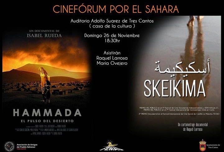 Recordatorio: cineforum por el sahara hoy en Tres Cantos