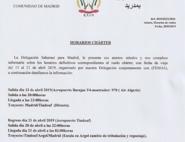 HORARIOS DEFINITIVOS VUELO CHARTER MADRID 🇪🇭🇪🇭  ¡¡ Qué poquito queda !!
