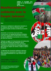 Manifestación en solidaridad con el pueblo saharaui el 12 de octubre en París | POR UN SAHARA LIBRE .org